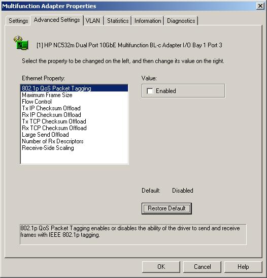 Multifunction Advanced Settings tab